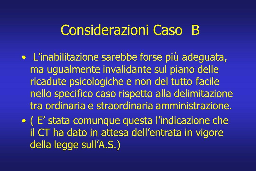 Considerazioni Caso B Linabilitazione sarebbe forse più adeguata, ma ugualmente invalidante sul piano delle ricadute psicologiche e non del tutto faci