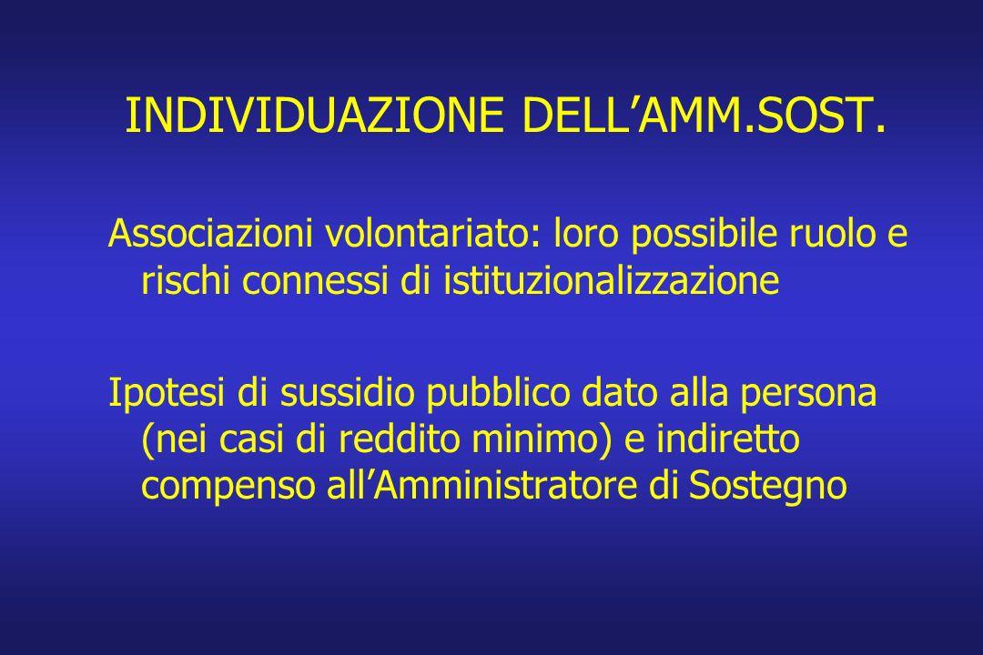 INDIVIDUAZIONE DELLAMM.SOST. Associazioni volontariato: loro possibile ruolo e rischi connessi di istituzionalizzazione Ipotesi di sussidio pubblico d