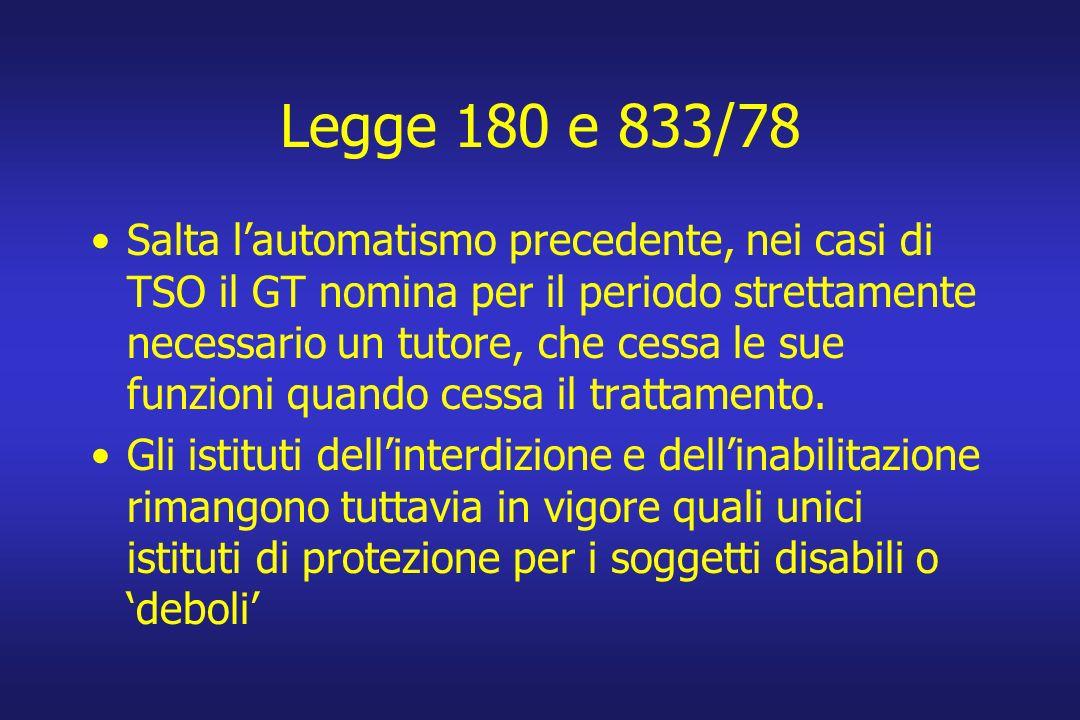 Legge 180 e 833/78 Salta lautomatismo precedente, nei casi di TSO il GT nomina per il periodo strettamente necessario un tutore, che cessa le sue funzioni quando cessa il trattamento.