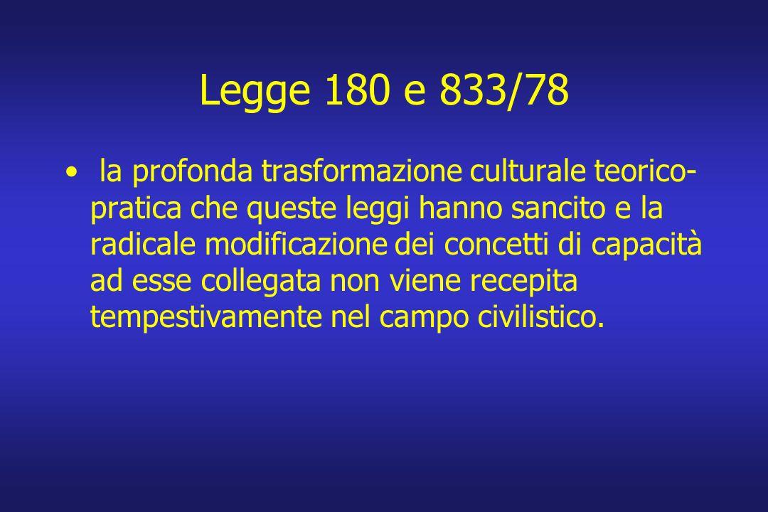 Legge 180 e 833/78 la profonda trasformazione culturale teorico- pratica che queste leggi hanno sancito e la radicale modificazione dei concetti di ca