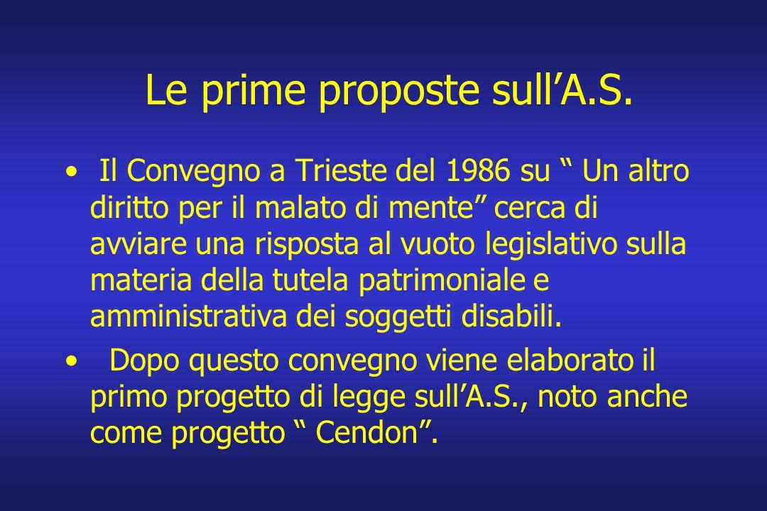 Le prime proposte sullA.S. Il Convegno a Trieste del 1986 su Un altro diritto per il malato di mente cerca di avviare una risposta al vuoto legislativ