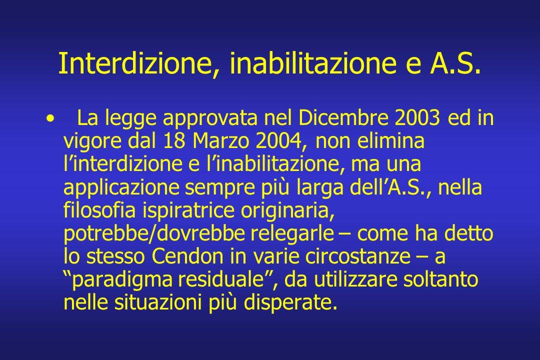Interdizione, inabilitazione e A.S. La legge approvata nel Dicembre 2003 ed in vigore dal 18 Marzo 2004, non elimina linterdizione e linabilitazione,