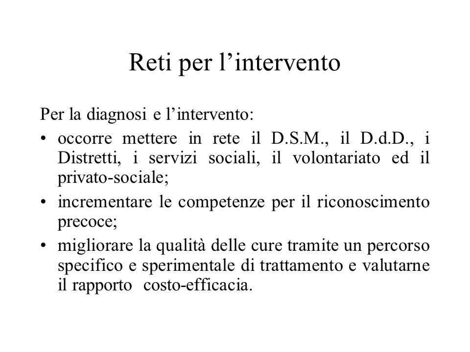 Reti per lintervento Per la diagnosi e lintervento: occorre mettere in rete il D.S.M., il D.d.D., i Distretti, i servizi sociali, il volontariato ed i