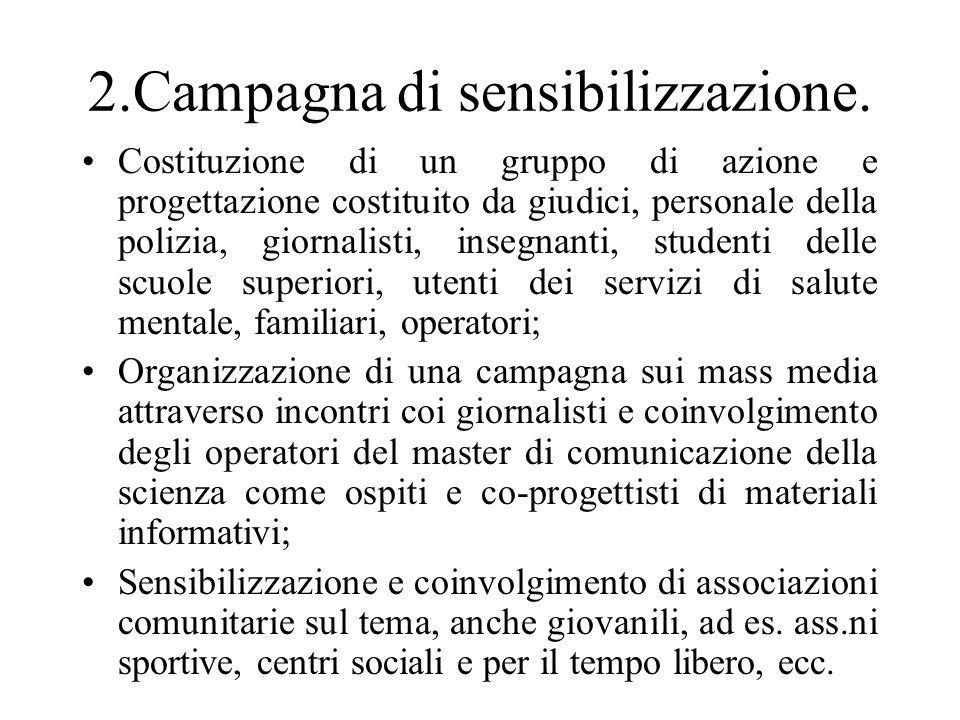 2.Campagna di sensibilizzazione. Costituzione di un gruppo di azione e progettazione costituito da giudici, personale della polizia, giornalisti, inse