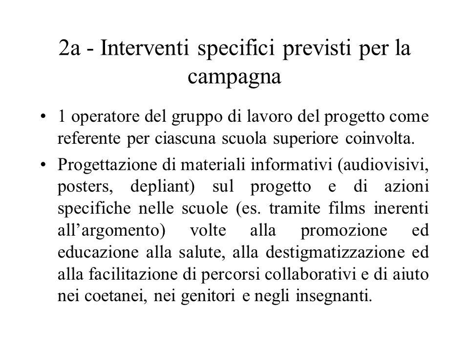 2a - Interventi specifici previsti per la campagna 1 operatore del gruppo di lavoro del progetto come referente per ciascuna scuola superiore coinvolt
