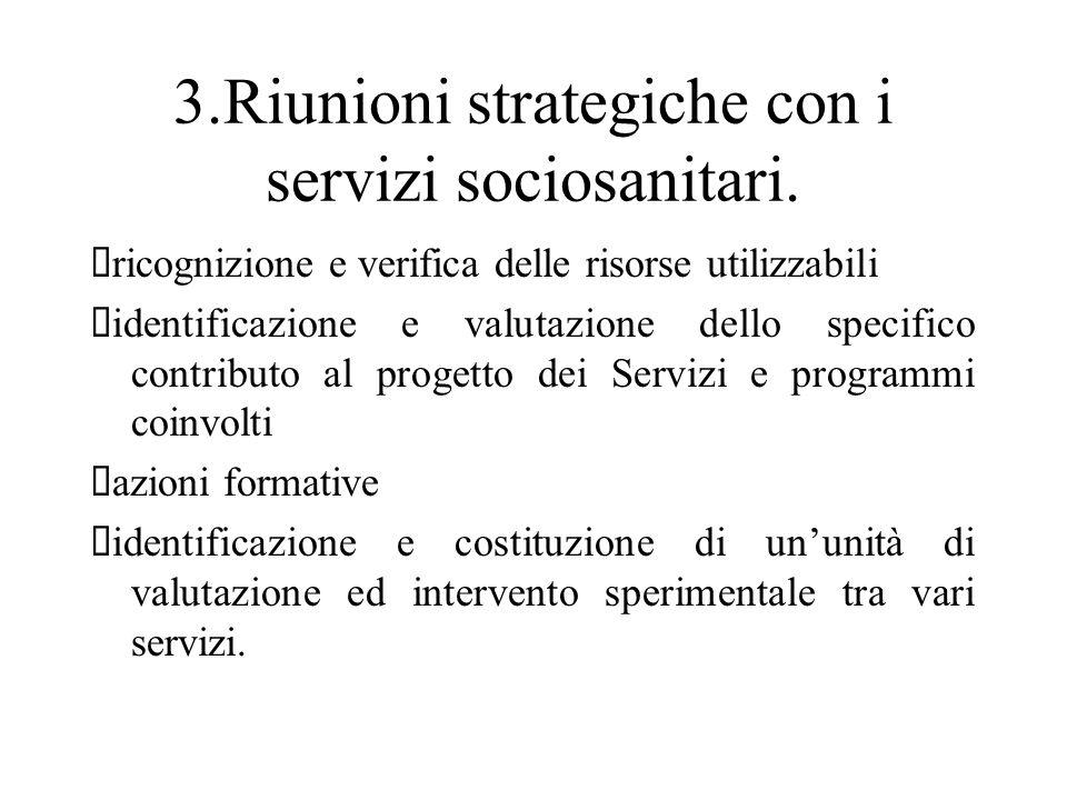3.Riunioni strategiche con i servizi sociosanitari. ricognizione e verifica delle risorse utilizzabili identificazione e valutazione dello specifico c