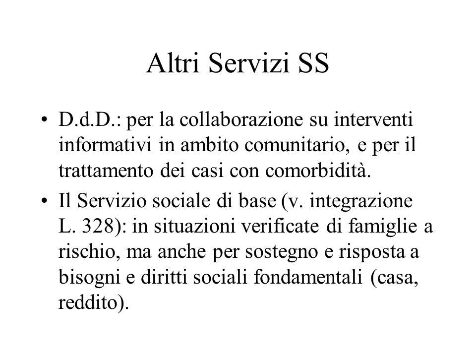 Altri Servizi SS D.d.D.: per la collaborazione su interventi informativi in ambito comunitario, e per il trattamento dei casi con comorbidità. Il Serv