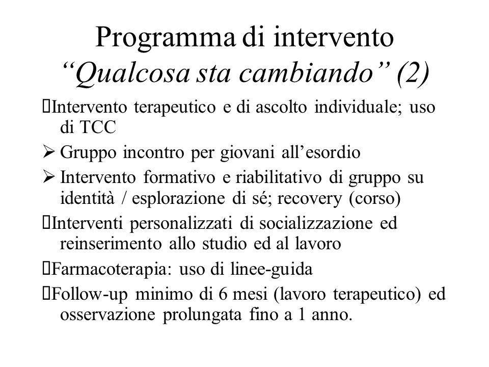 Programma di intervento Qualcosa sta cambiando (2) Intervento terapeutico e di ascolto individuale; uso di TCC Gruppo incontro per giovani allesordio