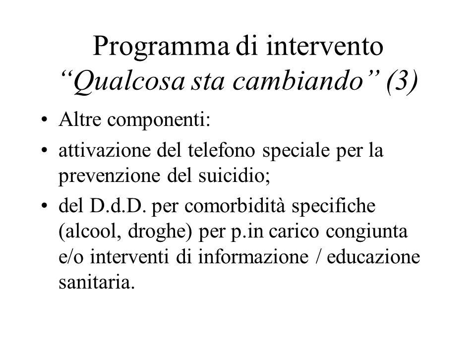 Programma di intervento Qualcosa sta cambiando (3) Altre componenti: attivazione del telefono speciale per la prevenzione del suicidio; del D.d.D. per