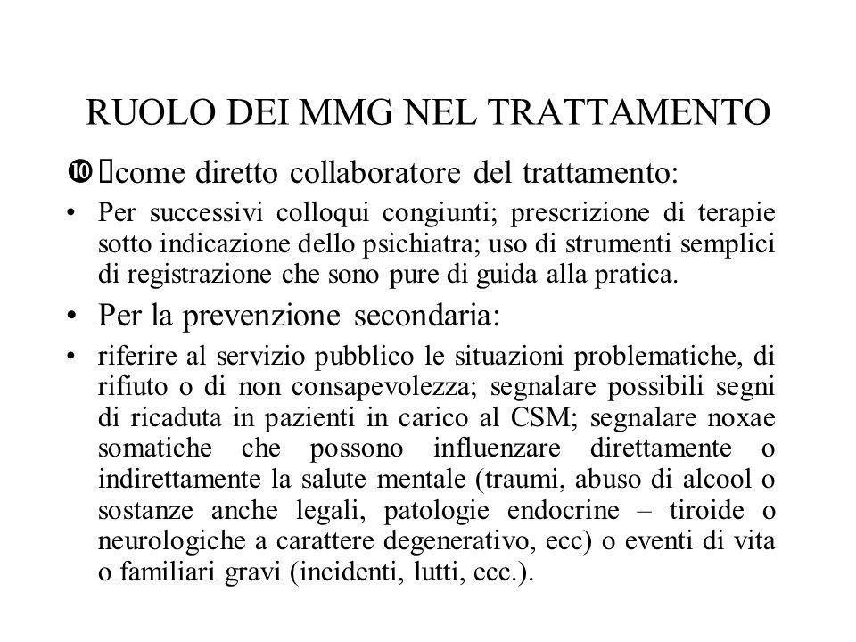 RUOLO DEI MMG NEL TRATTAMENTO come diretto collaboratore del trattamento: Per successivi colloqui congiunti; prescrizione di terapie sotto indicazione