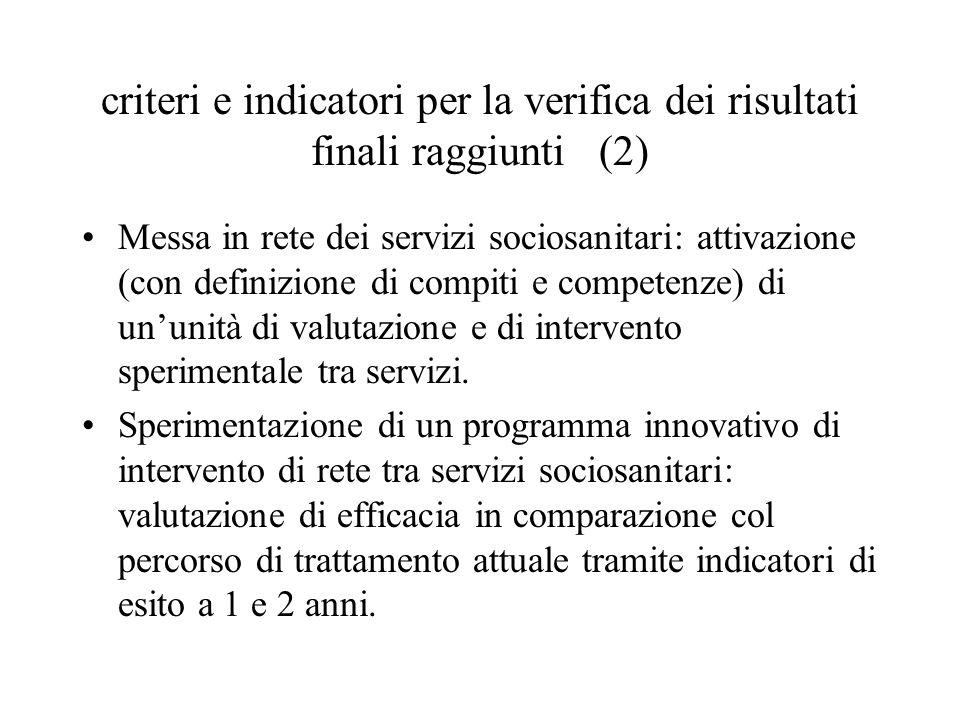 criteri e indicatori per la verifica dei risultati finali raggiunti (2) Messa in rete dei servizi sociosanitari: attivazione (con definizione di compi