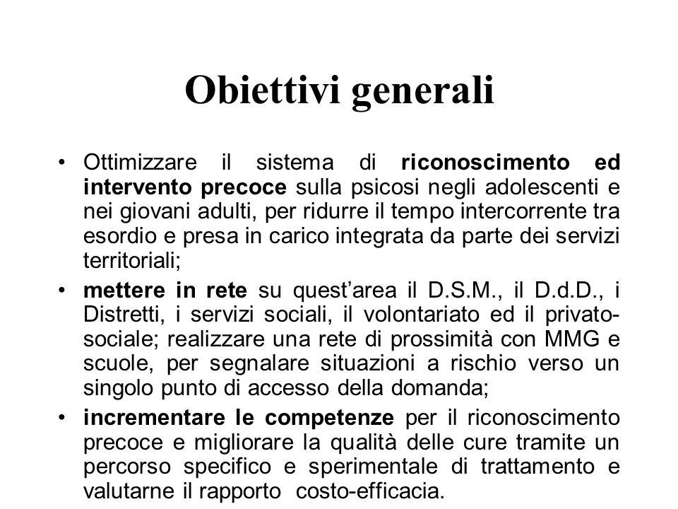 Obiettivi (2) Quindi: la costruzione di un percorso di arrivo non stigmatizzante ai servizi di salute mentale per gli adulti ed a quelli per ladolescenza, che faciliti il contatto e la presa in carico ove opportuna.