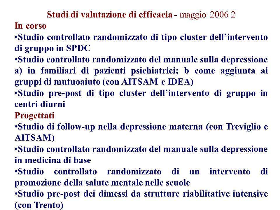 3 Studi di valutazione di efficacia - maggio 2006 2 In corso Studio controllato randomizzato di tipo cluster dellintervento di gruppo in SPDC Studio c