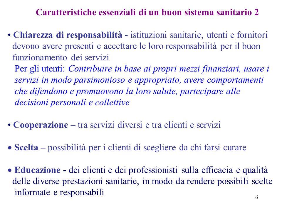 6 Caratteristiche essenziali di un buon sistema sanitario 2 Chiarezza di responsabilità - istituzioni sanitarie, utenti e fornitori devono avere prese