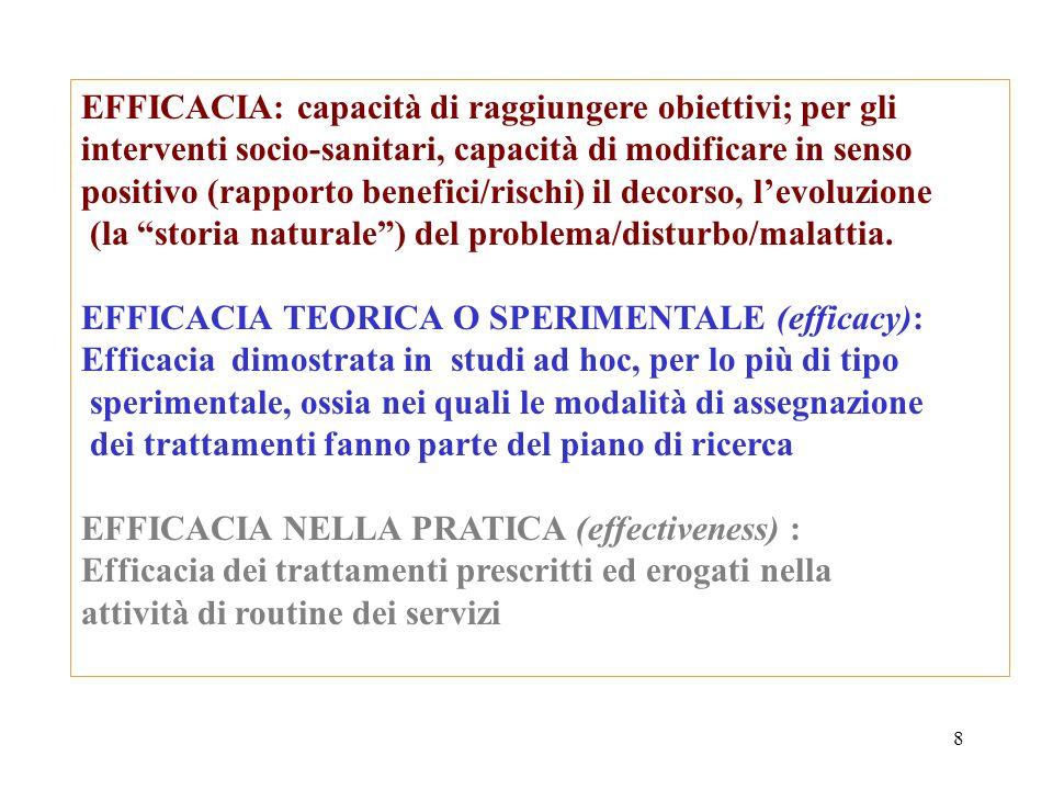8 EFFICACIA: capacità di raggiungere obiettivi; per gli interventi socio-sanitari, capacità di modificare in senso positivo (rapporto benefici/rischi)