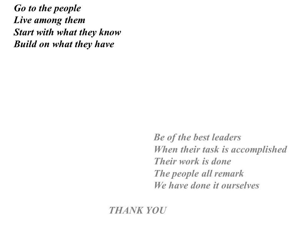 Sii il migliore tra i leaders, Quando lobiettivo è raggiunto, Limpresa è compiuta, Fai notare a tutti che lo abbiamo fatto insieme Vai tra la gente Vivi tra di loro Inizia con quello che sanno Costruisci su quello che hanno Grazie