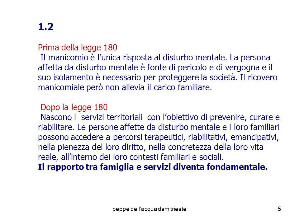 peppe dell'acqua dsm trieste5 1.2 Prima della legge 180 Il manicomio è lunica risposta al disturbo mentale. La persona affetta da disturbo mentale è f