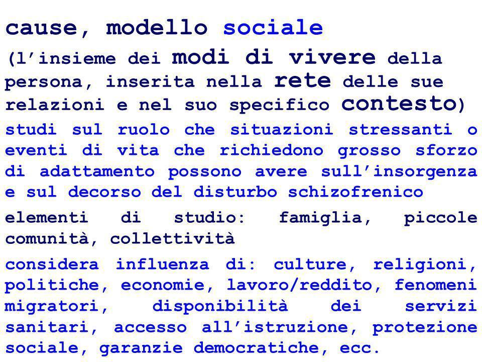 cause, modello sociale (linsieme dei modi di vivere della persona, inserita nella rete delle sue relazioni e nel suo specifico contesto ) studi sul ru