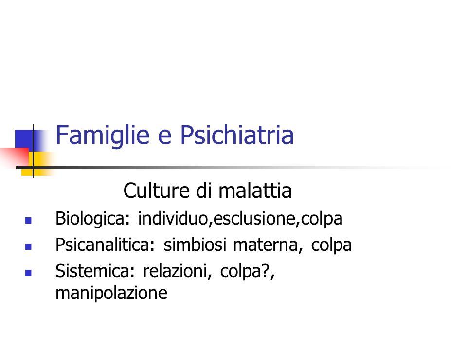 Famiglie e Psichiatria Antipsichiatrica: rivoluzione ideologica Psicoeducativa : informazione, normalizzazione Salute mentale : collaborazione fra soggetti