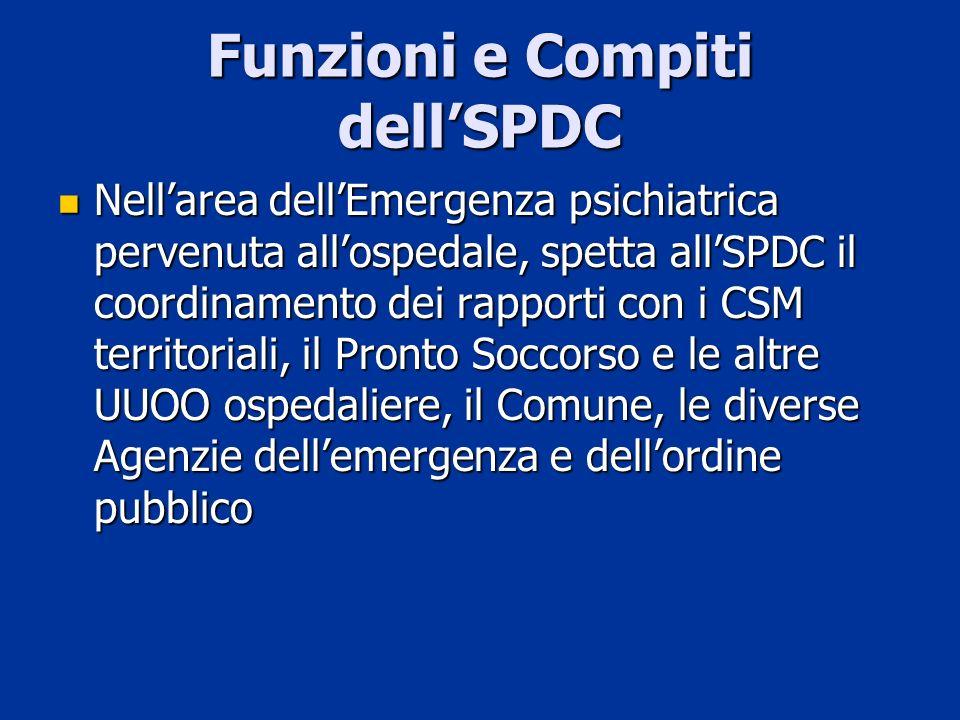 Funzioni e Compiti dellSPDC Nellarea dellEmergenza psichiatrica pervenuta allospedale, spetta allSPDC il coordinamento dei rapporti con i CSM territor