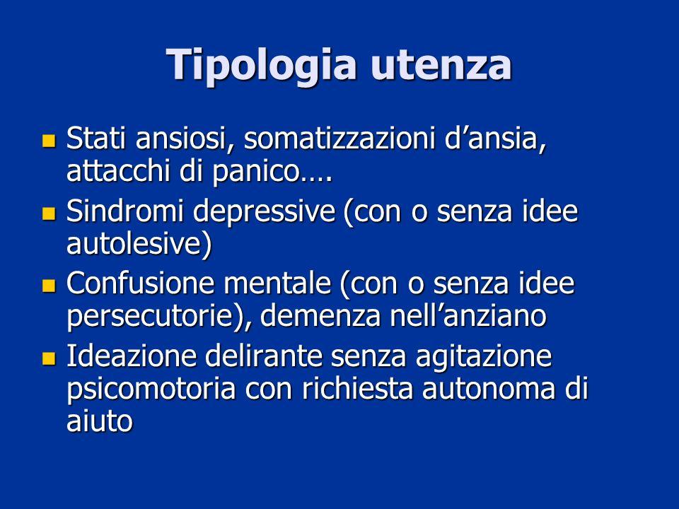 Tipologia utenza Stati ansiosi, somatizzazioni dansia, attacchi di panico…. Stati ansiosi, somatizzazioni dansia, attacchi di panico…. Sindromi depres