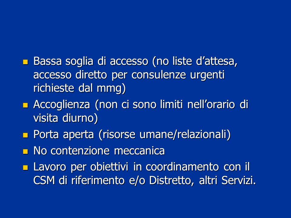 Bassa soglia di accesso (no liste dattesa, accesso diretto per consulenze urgenti richieste dal mmg) Bassa soglia di accesso (no liste dattesa, access