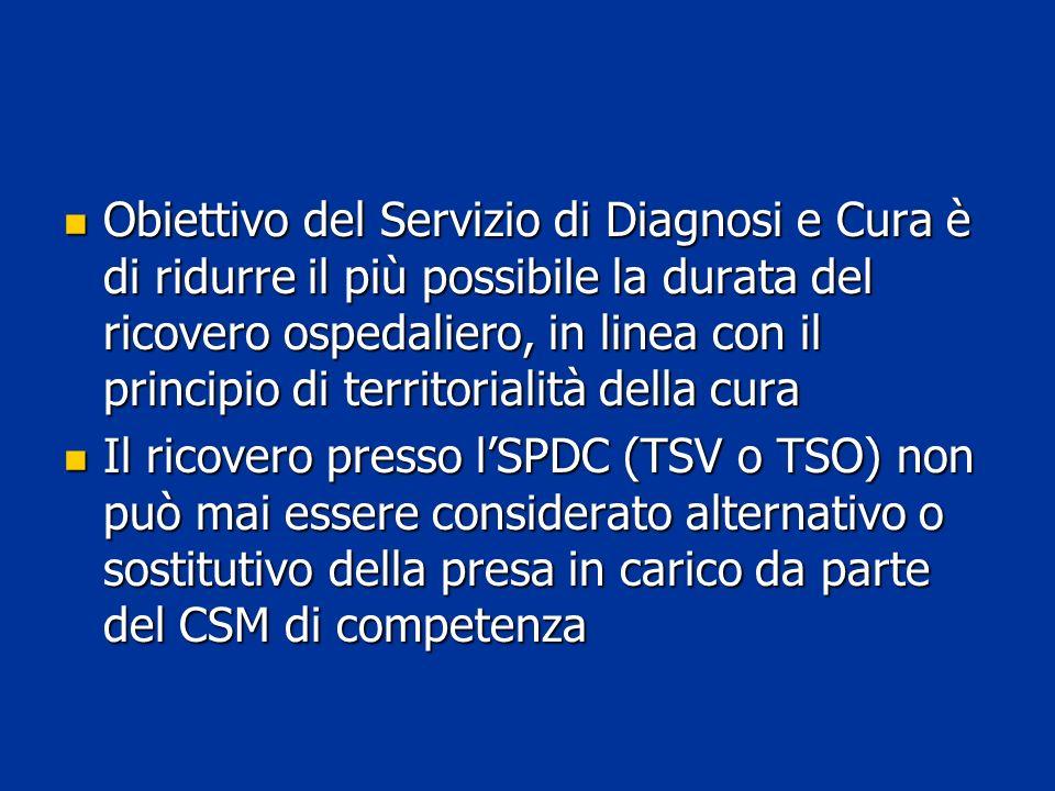 Obiettivo del Servizio di Diagnosi e Cura è di ridurre il più possibile la durata del ricovero ospedaliero, in linea con il principio di territorialit