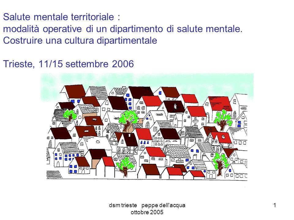 dsm trieste peppe dell acqua ottobre 2005 1 Salute mentale territoriale : modalità operative di un dipartimento di salute mentale.
