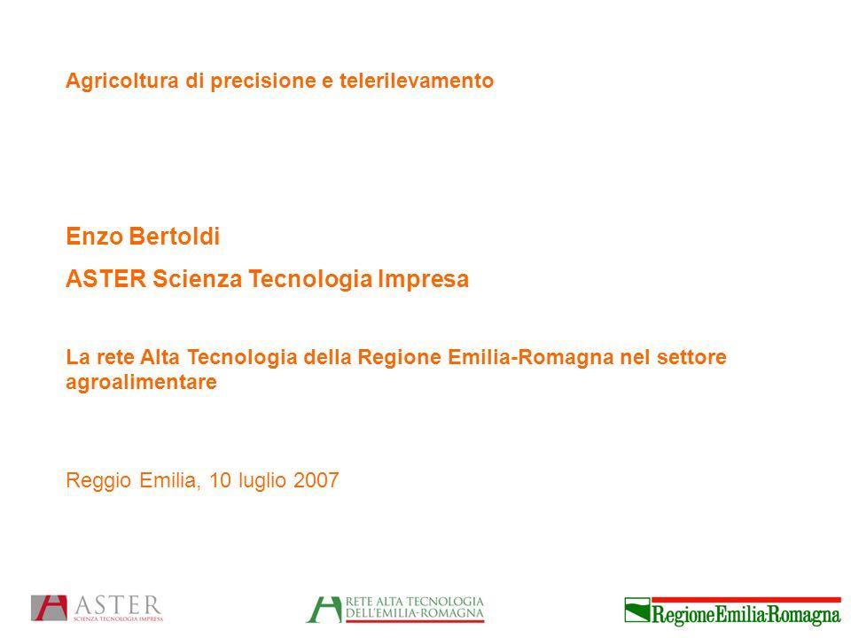 Agricoltura di precisione e telerilevamento Enzo Bertoldi ASTER Scienza Tecnologia Impresa La rete Alta Tecnologia della Regione Emilia-Romagna nel settore agroalimentare Reggio Emilia, 10 luglio 2007