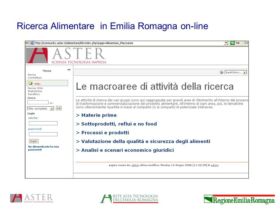 Ricerca Alimentare in Emilia Romagna on-line