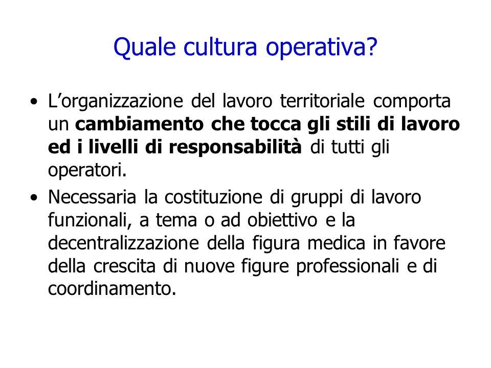 Quale cultura operativa? Lorganizzazione del lavoro territoriale comporta un cambiamento che tocca gli stili di lavoro ed i livelli di responsabilità