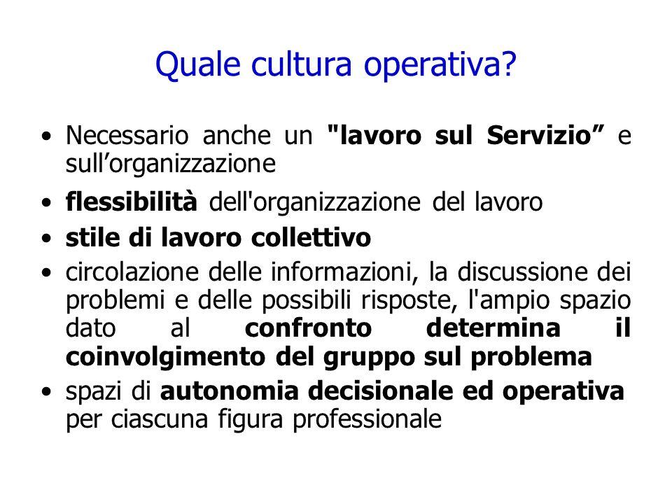 Quale cultura operativa? Necessario anche un