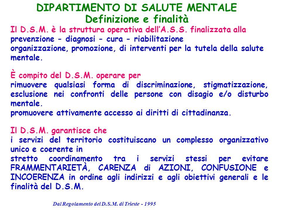 DIPARTIMENTO DI SALUTE MENTALE Definizione e finalità Il D.S.M. è la struttura operativa dellA.S.S. finalizzata alla prevenzione - diagnosi - cura - r