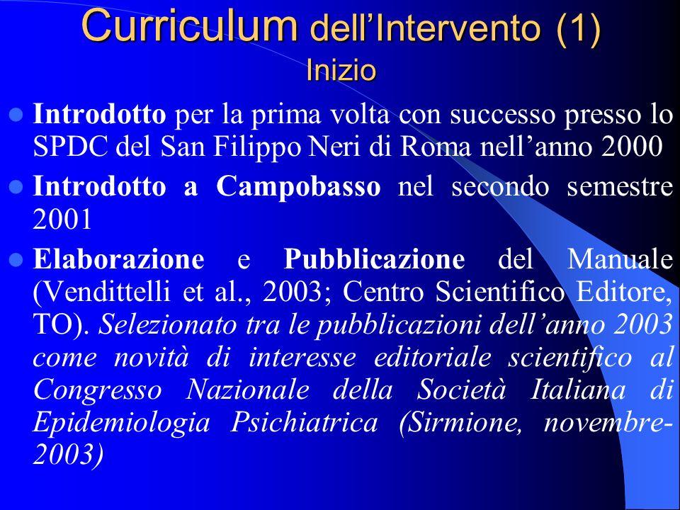 LIntervento Cognitivo-Comportamentale di gruppo nel Servizio Psichiatrico di Diagnosi e Cura Vendittelli, Veltro, Oricchio, Bazzoni, Rosicarelli, Poli