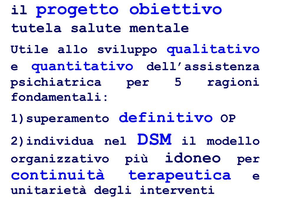 il il progetto obiettivo tutela salute mentale Utile allo sviluppo qualitativo e quantitativo dellassistenza psichiatrica per 5 ragioni fondamentali: