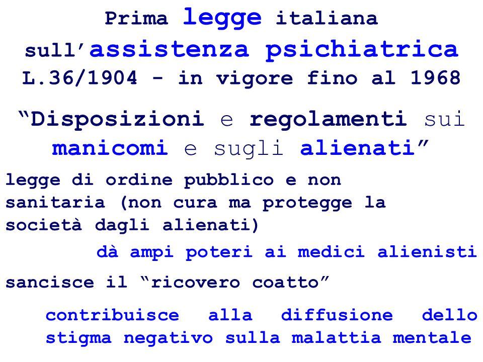 Prima legge italiana sull assistenza psichiatrica L.36/1904 - in vigore fino al 1968 sancisce il ricovero coatto legge di ordine pubblico e non sanita