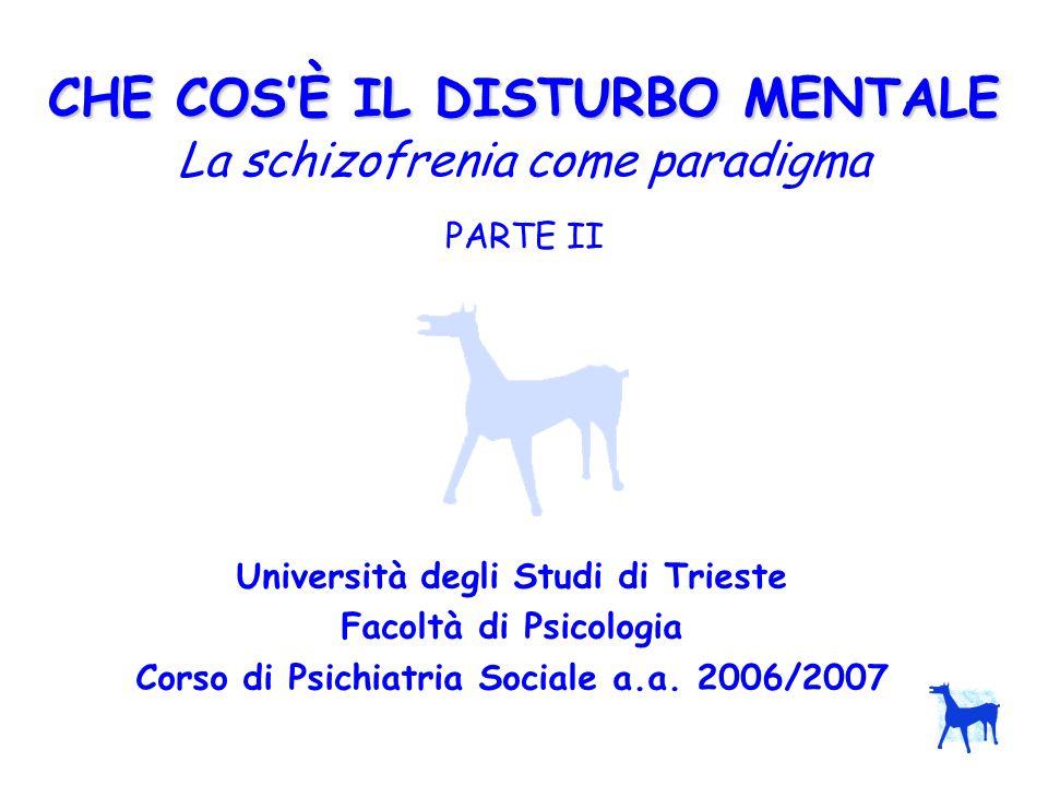 CHE COSÈ IL DISTURBO MENTALE CHE COSÈ IL DISTURBO MENTALE La schizofrenia come paradigma PARTE II Università degli Studi di Trieste Facoltà di Psicolo