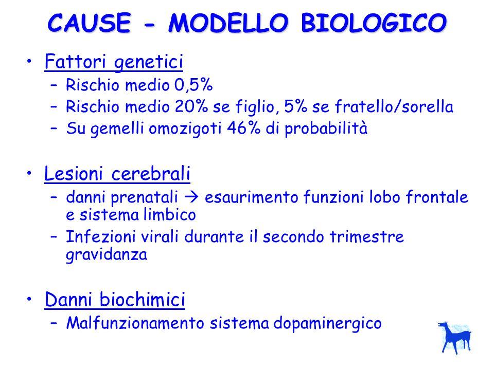 CAUSE - MODELLO BIOLOGICO Fattori genetici –Rischio medio 0,5% –Rischio medio 20% se figlio, 5% se fratello/sorella –Su gemelli omozigoti 46% di proba