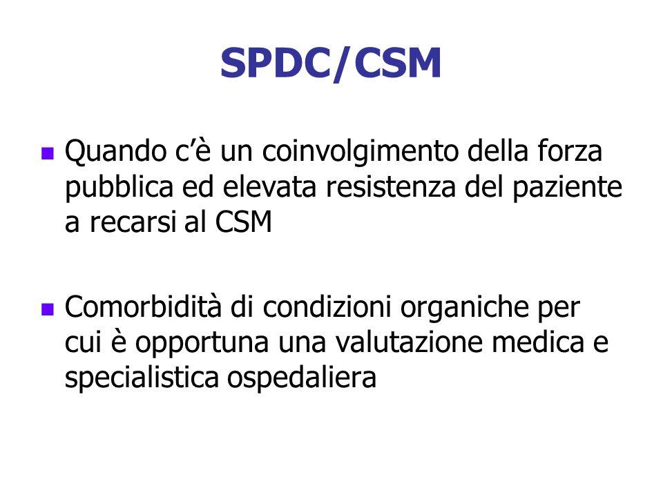 SPDC/CSM Quando cè un coinvolgimento della forza pubblica ed elevata resistenza del paziente a recarsi al CSM Comorbidità di condizioni organiche per