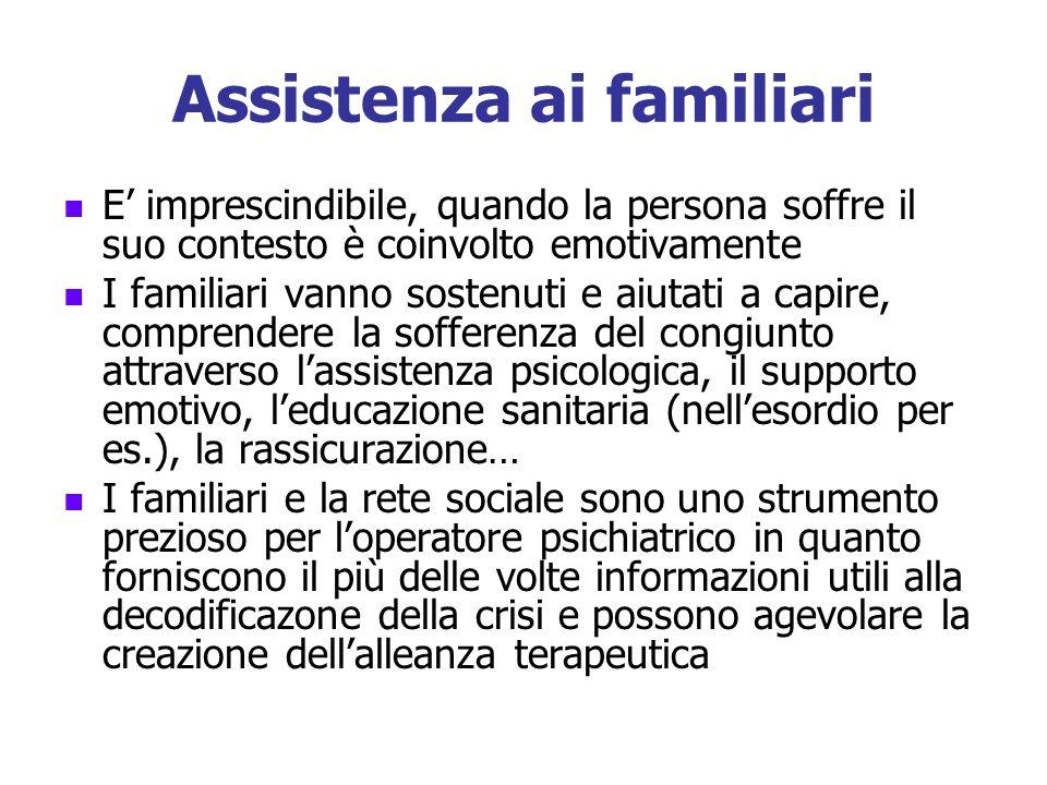 Assistenza ai familiari E imprescindibile, quando la persona soffre il suo contesto è coinvolto emotivamente I familiari vanno sostenuti e aiutati a c