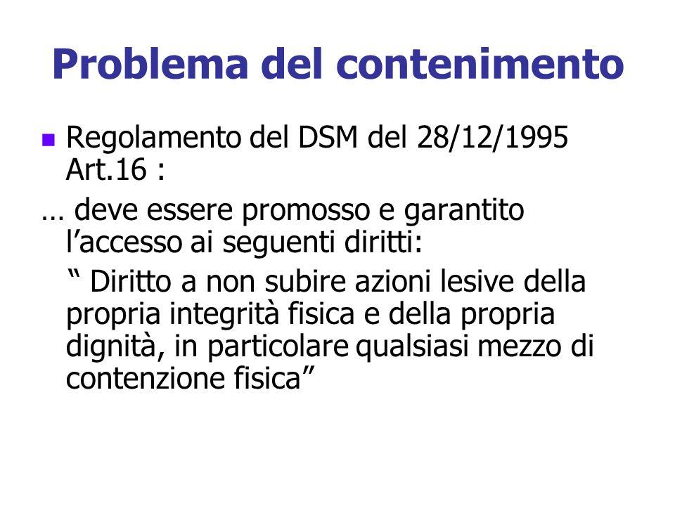 Problema del contenimento Regolamento del DSM del 28/12/1995 Art.16 : … deve essere promosso e garantito laccesso ai seguenti diritti: Diritto a non s