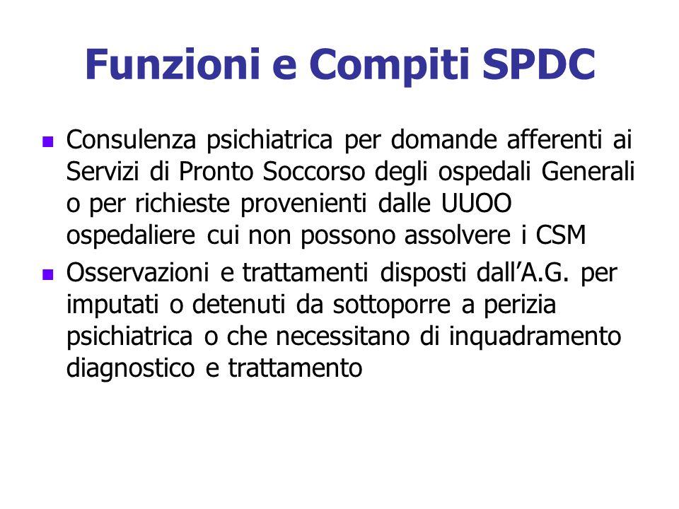 Funzioni e Compiti SPDC Consulenza psichiatrica per domande afferenti ai Servizi di Pronto Soccorso degli ospedali Generali o per richieste provenient