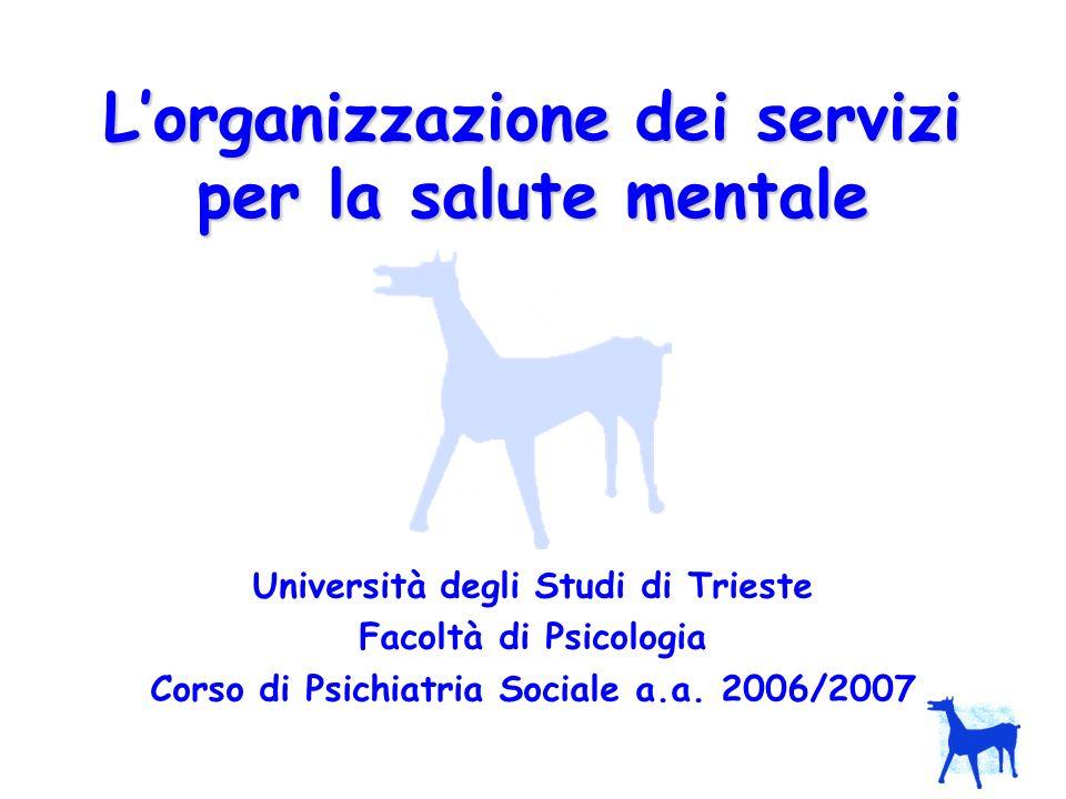 LAPPLICAZIONE DELLA 180 VENTENNIO 78-98: sperimentazione della riforma PROGETTO OBIETTIVO TUTELA SALUTE PROGETTO OBIETTIVO TUTELA SALUTE MENTALE del 1999-2000: - conferma i contenuti della legge 180 - il Dipartimento di Salute Mentale (DSM) diventa la struttura organizzativa e di coordinamento