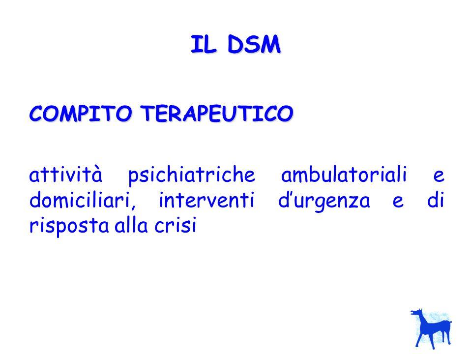 COMPITO RIABILITATIVO Agire per sviluppare le capacità della persona, poche o tante che siano, migliorare la sua autonomia e le sue relazioni IL DSM