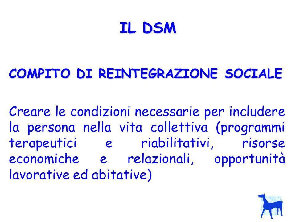LE UNITA OPERATIVE DEL DSM (come previsto dal Progetto obiettivo) CENTRO DI SALUTE MENTALE (CSM) SERVIZIO PSICHIATRICO DI DIAGNOSI E CURA (SPDC) STRUTTURE RESIDENZIALI E SEMI- RESIDENZIALI (SR)
