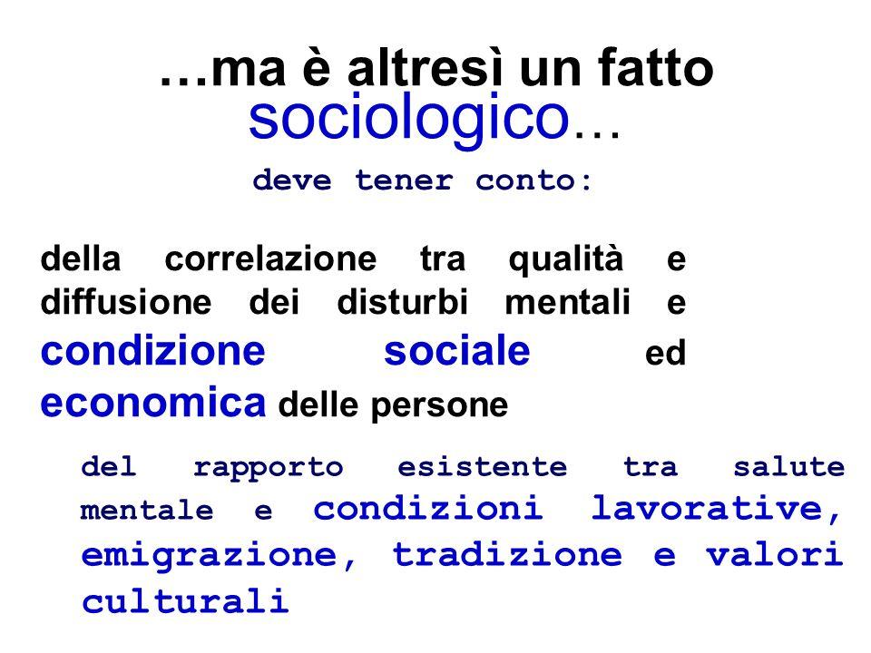 …ma è altresì un fatto sociologico … della correlazione tra qualità e diffusione dei disturbi mentali e condizione sociale ed economica delle persone