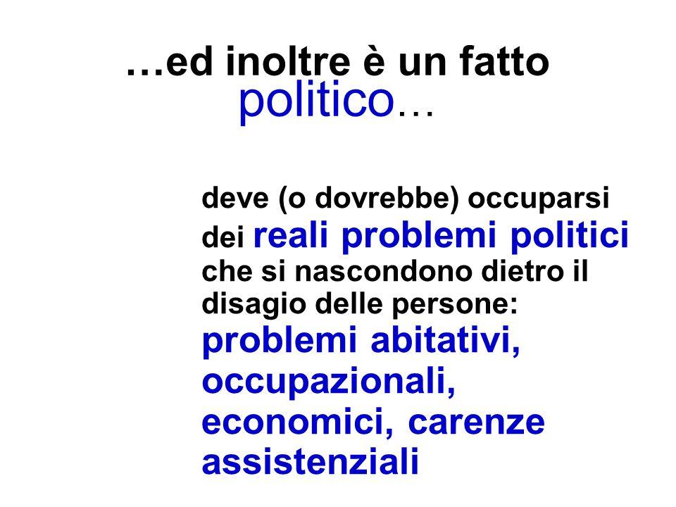 …ed inoltre è un fatto politico … deve (o dovrebbe) occuparsi dei reali problemi politici che si nascondono dietro il disagio delle persone: problemi