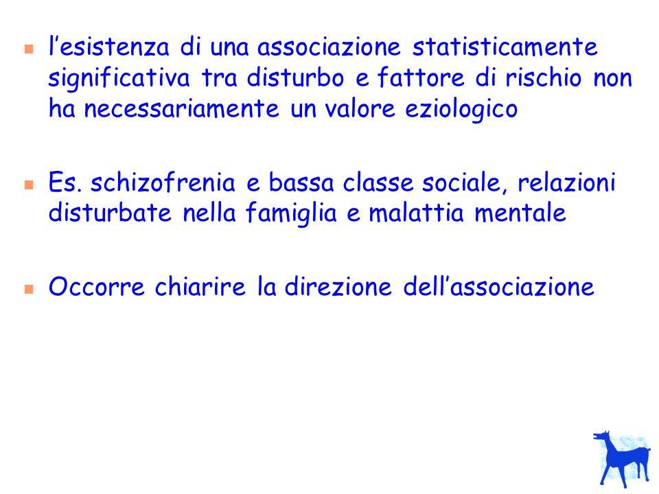 lesistenza di una associazione statisticamente significativa tra disturbo e fattore di rischio non ha necessariamente un valore eziologico Es. schizof