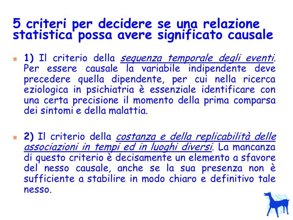 5 criteri per decidere se una relazione statistica possa avere significato causale 1) Il criterio della sequenza temporale degli eventi. Per essere ca