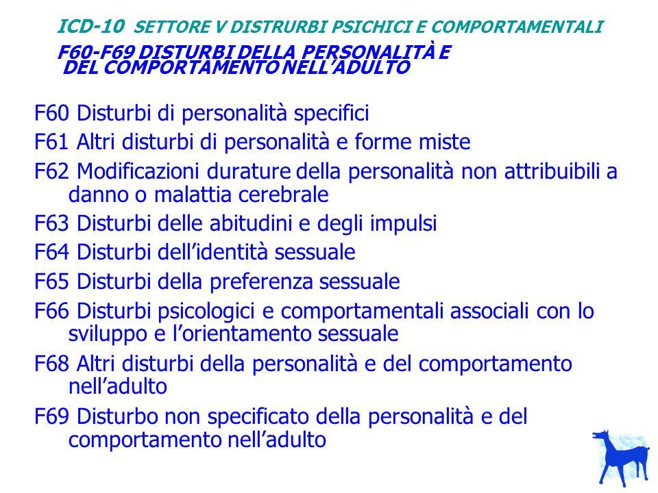 F60-F69 DISTURBI DELLA PERSONALITÀ E DEL COMPORTAMENTO NELLADULTO F60 Disturbi di personalità specifici F61 Altri disturbi di personalità e forme mist